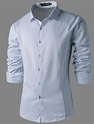 Men's Solid Casual Shirt,Cotton Blend Long Sleeve