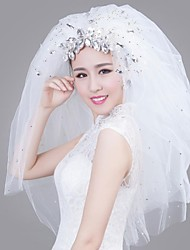 Large Pieces of Rhinestone Flash Chip with Short Section of Multi-layer Bridal Veil