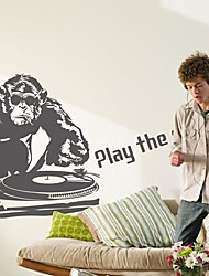 Wall Stickers Wall Decals,  Modern Orangutans play music PVC Wall Stickers