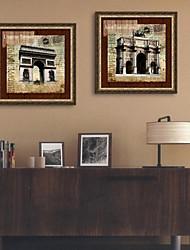 Architecture / Famous Framed Canvas / Framed Set Wall Art,PVC Golden No Mat With Frame Wall Art