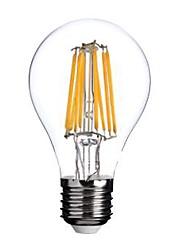 8W E26/E27 Ampoules à Filament LED A60(A19) 8 COB 800 lm Blanc Chaud AC 100-240 V