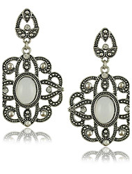 Ethnic Style White stone earrings Flower Design Vintage Jewelry