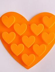 10 Loch Herzform Kuchen Eis Gelee Schokoladenformen, Silikon 15 x 14,5 x 1,5 cm (6,0 x 5,8 x 0,6 Zoll)