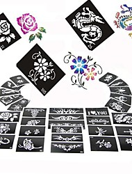 100PCS Beautiful Mixed Size Glitter Tattoo Stencils