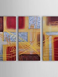 Oil Painting Modern Abstract Conducting on Metal Set of 3 Hand Painted Canvas with Stretched Frame