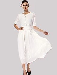 Women's Casual/Daily Vintage / Simple Chiffon / Swing Dress,Solid Round Neck Midi ½ Length Sleeve White Polyester Spring / Fall Mid Rise