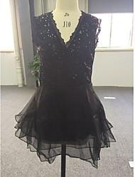 Mesh sexy V-Ausschnitt ärmelloses Kleid org Frauen