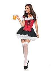 Cosplay Costumes / Party Costume Maid Costumes / Oktoberfest/Beer Festival/Holiday Halloween Costumes Red Patchwork Dress Halloween Female