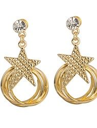 Woman's Fashion Gold Star Ring Earring