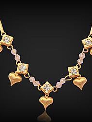 chapado en oro verdadero u7® nueva cadena 18k collar de corazones encanto rhinestone joyería de la cadena de acoplamiento para las mujeres 53cm