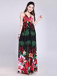 Women's Beach Swing Dress,Print Deep V Maxi Sleeveless Red / White / Black Summer