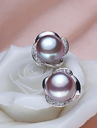 Women's Freshwater Pearl Flower Shape Stud Earrings(More Colors)