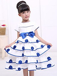 Girl's Floral Dress,Cotton / Polyester Summer / Fall Blue / Pink / Red