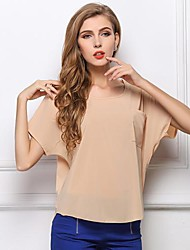 Women's Blue/Pink/Black/Orange/Purple/Beige Blouse Short Sleeve
