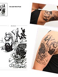 1 Pcs Waterproof  Black Large Dragon  Pattern  Tattoo Stickers