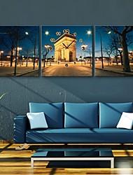 E-Home® europäische Architektur des Nacht Uhr im Segeltuch 3pcs