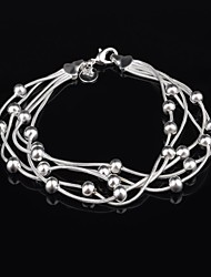Women's Fashion Personality Olive Beads Silver Plated Bracelet