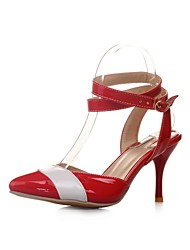 DamenKleid-Lackleder-Stöckelabsatz-Absätze / Spitzschuh-Schwarz / Gelb / Rot