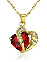 Fashion Heart Jewelry for Women 24K Gold Plated CZ Pendant Necklace With Chain
