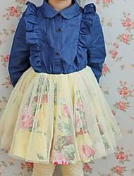 de mangas compridas de outono-coreano vestuário de algodão meninas das crianças da menina vestido de manga denim véu voar