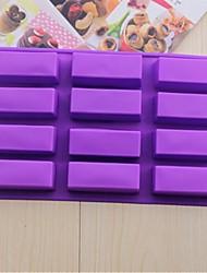 12 buracos moldes bolo retangular gelo geléia de chocolate, silicone 29,5 × 17 × 3 cm (11,7 × 6,7 × 1,2 polegadas)