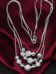 2016 Three-Line Multi-Pearl Noble Exaggeration Vintage Silver Necklace