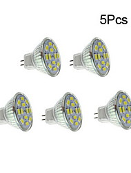 6W GU4(MR11) Spot LED 12 SMD 5730 570 lm Blanc Chaud / Blanc Naturel DC 12 V 5 pièces