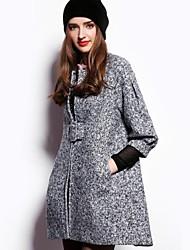 détachable floral col montant outcoat laine des femmes avec ceinture