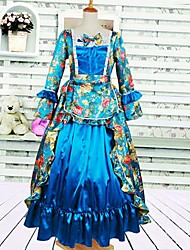 Long Sleeve Floor-length Sky blue Cotton Gothic Lolita Dress