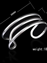 Fashion Sterling Silver Plated Wave Bangle Women's Bracelet