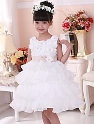 Girl's White Flower Tutu Cake Party Pageant Wedding Bridesmaid Children Fashion Dresses