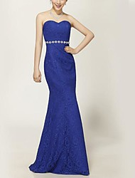 Floor-length Chiffon Bridesmaid Dress - Royal Blue/Beige Trumpet/Mermaid Sweetheart