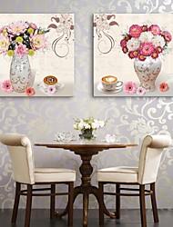 e-home® lona esticada arte um vaso e flores conjunto pintura decorativa de 2