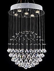 LED Crystal Chandeliers Lamps 5 Lights Modern Silver Round Canpoy Transparent K9 Crystal Living Room Fixtures
