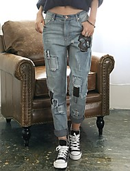 Women's Blue Denim Pant , Casual/Cute/Party