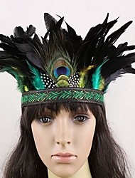 Indian Style Peacock Feather Carnival Headband