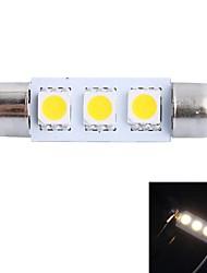 GC® 39mm 0,6W 50lm 3000K 3x5050 smd varmvit ledde till bil läsning / registreringsskylt / dörr ljus lampa (DC 12V)
