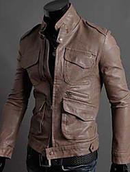 estilo coreano soporte chaqueta delgada de la PU de los hombres