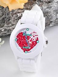 flor feminina geléia superfície de silicone relógio de forma circular chinês movimento relógios (cores sortidas)