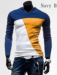 hit kleur met lange mouwen t-shirt slanke v mannen