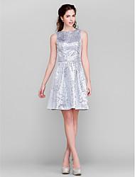Knee-length Sequined Bridesmaid Dress - Silver A-line Bateau