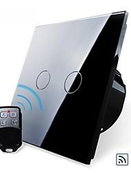 EU Standard,Livolo Black Pearl Crystal Glass Panel,Wireless Remote Home Light, 2Gang 2 Way Switch,110-250VAC