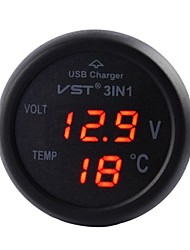 Car-Mounted Charger ,Car Battery Monitor and Digtial Thermometer,3 in 1,USB Charger