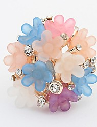 Women's Cute Candy Florals Cluster Rhinestone Statement Ring