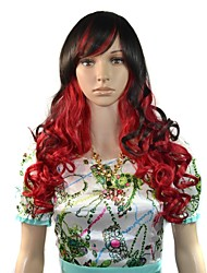 24 Inch Women Long Deep Wavy Black Red Mixcolor Side Bang Party Wigs