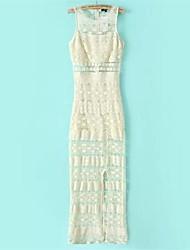 Women's Holiday Bodycon Dress Round Neck Maxi Sleeveless Multi-color Polyester Spring / Summer