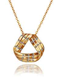 Fashion Geometry Shape Tin Alloy Rose Gold Plated Czech Drill Necklace(Rose Gold,Gold,White Gold)(1Pc)