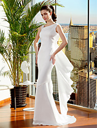 Mermaid / Trumpet Straps Sweep / Brush Train Satin Chiffon Wedding Dress with Criss-Cross by LAN TING BRIDE®