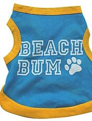 Gatos / Cães Camiseta Azul Roupas para Cães Verão Carta e Número