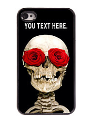 Personalized Case Skull and Rose Design Metal Case for iPhone 4/4S